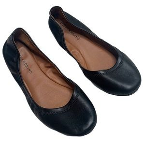 Lucky Brand Black Leather Emmie Flats Size 10
